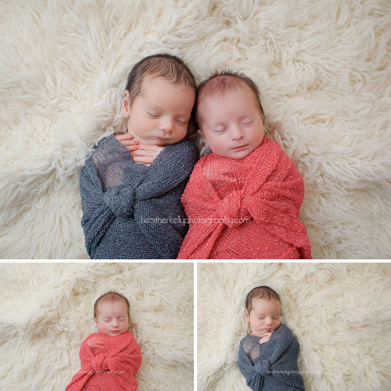 newborn twins wrapped next to each other. Such adorable boy and girl twins. twin newborn photography ct