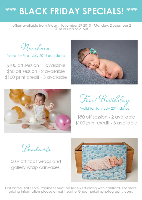 Black Friday Promotion - Heather Kelly Photography - Connecticut newborn and baby photographer