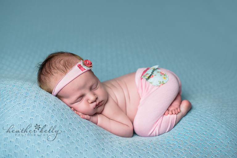 brookfield baby newborn photographer baby girl on blue ct newborn photographer