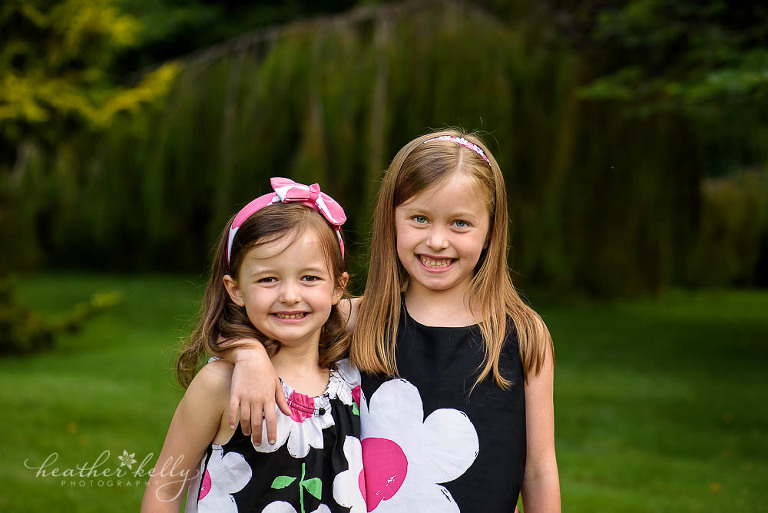 two sisters at the pleasance in newtown for family photography