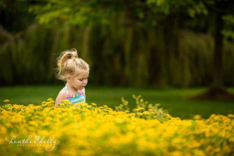 two year old with yellow flowers in Newtown park