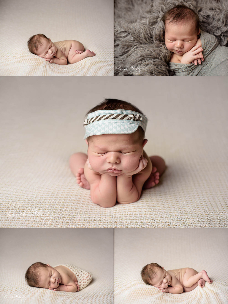 5 newborn images from a petite newborn photography session by Heather Kelly Photography. A CT newborn photographer.