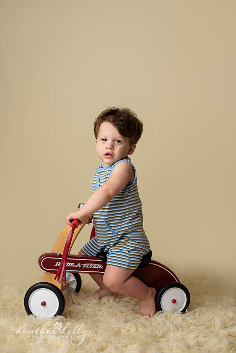 studio photography with toddler boy on tricycle