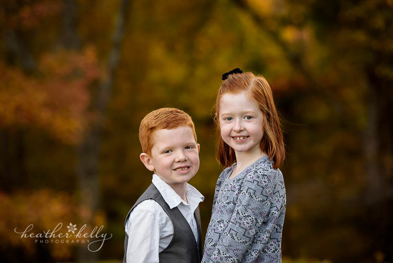 brother and sister fall photo