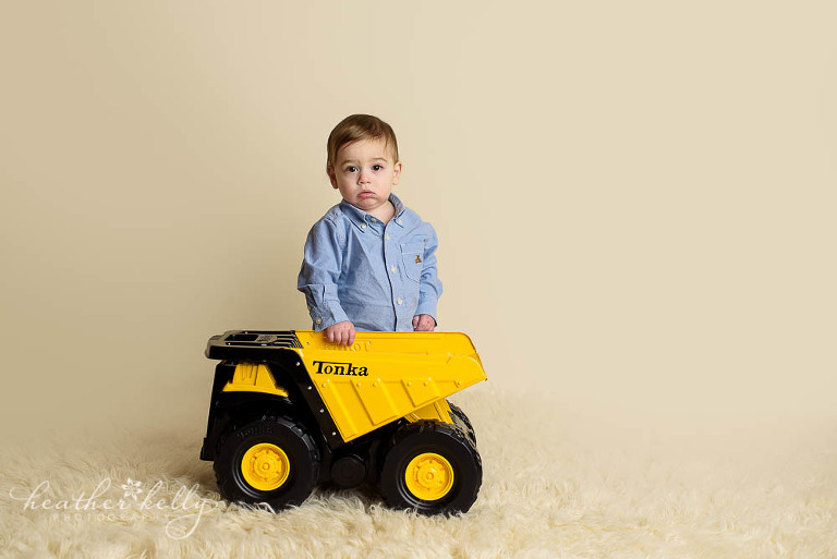 adorable danbury baby one year old boy and his tonka truck photo