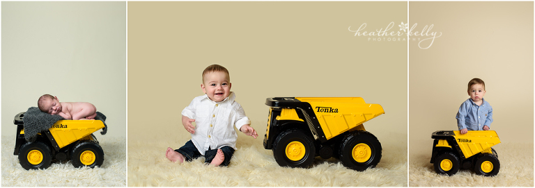 adorable danbury baby newborn 6 months and 1 year with tonka truck photos