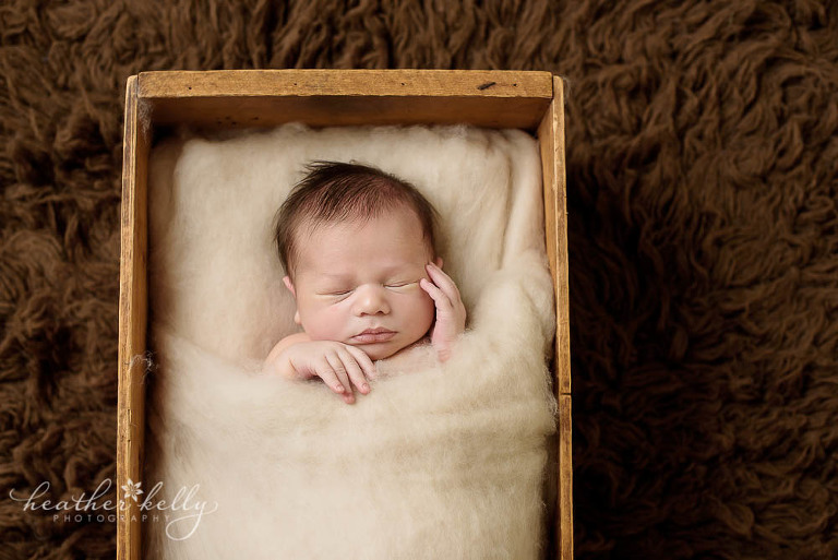 favorite prop pose newborn blog circle. Baby boy in crate. Neutral colors.