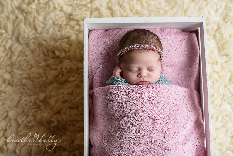 favorite prop pose newborn blog circle of little girl in pink and gray in crate photo