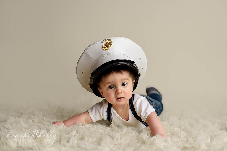 baby boy wearing dads navy hat photo monroe baby photos ct photographer