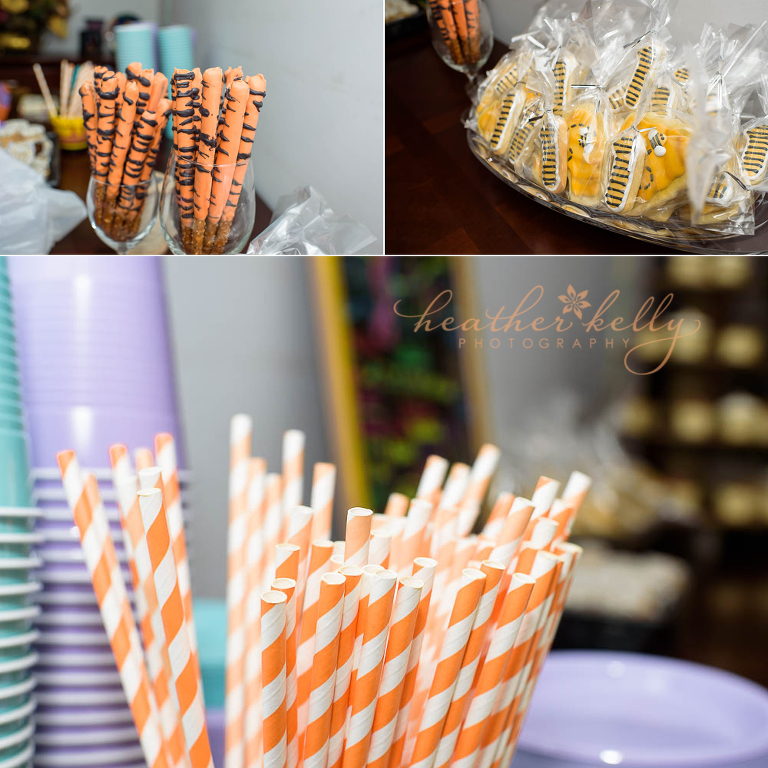 Winnie the Pooh 1st birthday party details. Tigger tails, pooh cookies, orange straws.