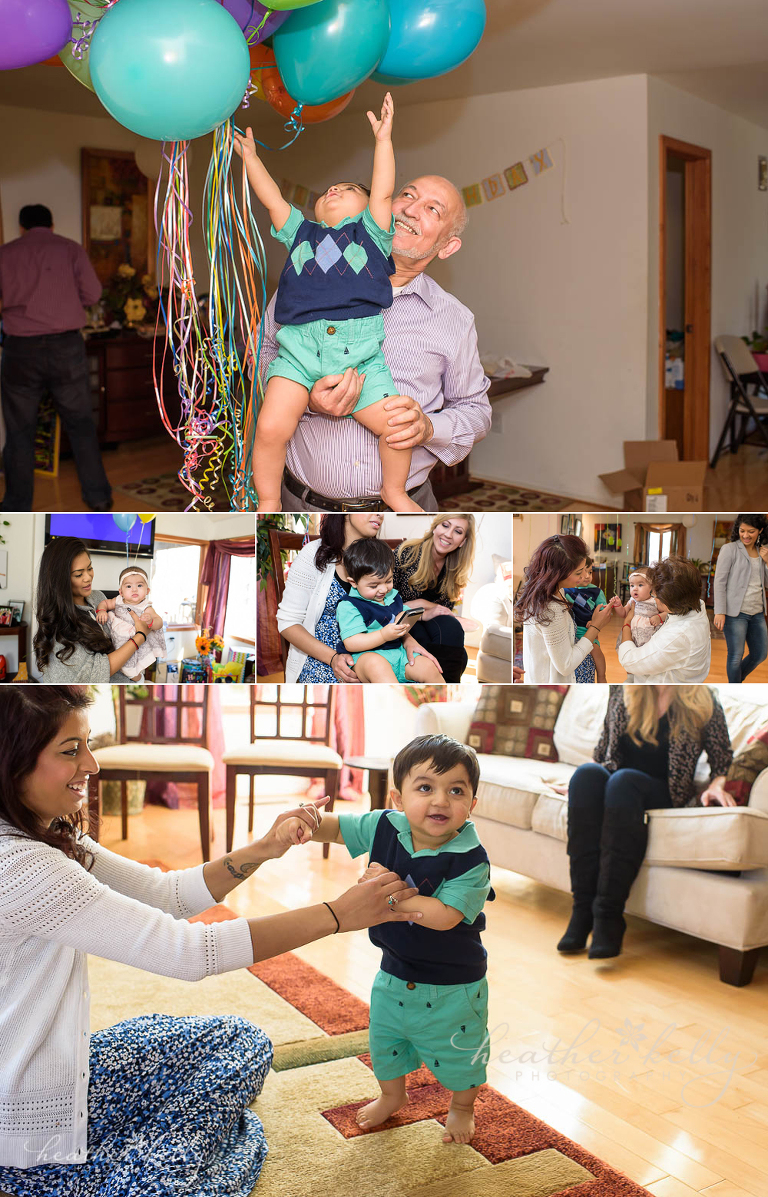 1st birthday party photo of guests and birthday boy. Danbury ct photographer Heather Kelly Photography