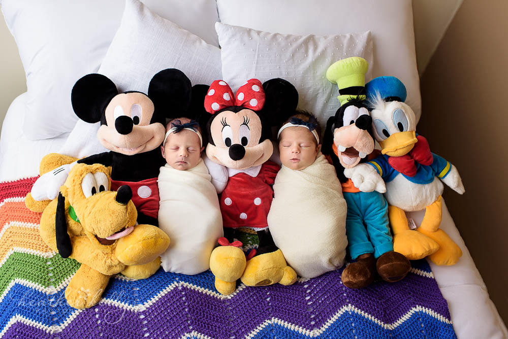 Disney inspired newborn twin photography with disney stuffed animals newtown ct twins
