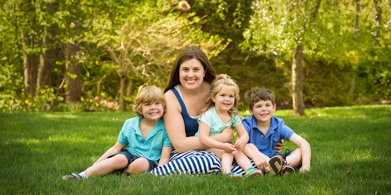 Photo of mom and 3 kids in spring. Heather Kelly Photography.