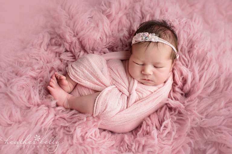 baby girl wrapped in pink. ridgefield ct newborn photography