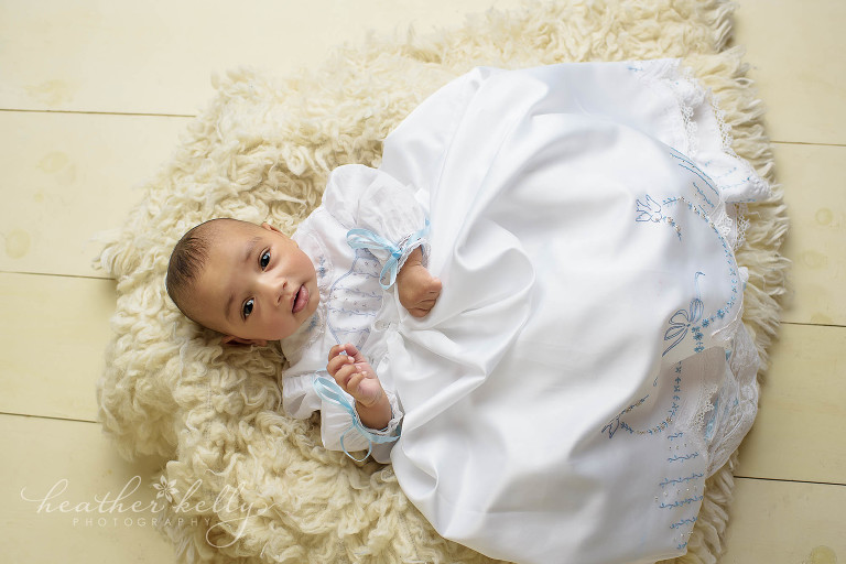 boy baptism gown photo session
