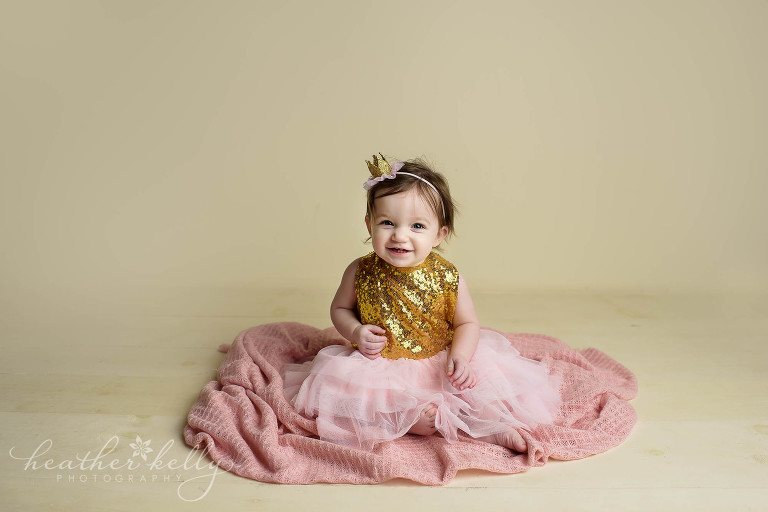one year old pink and gold photo session