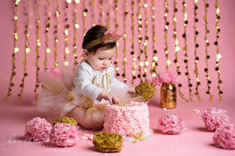 first birthday cake smash pink and gold