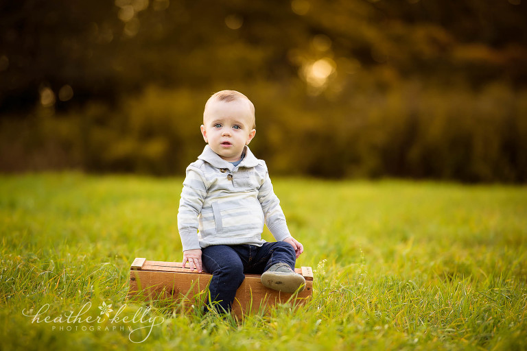 little boy on crate. fall family photography fairfield county ct