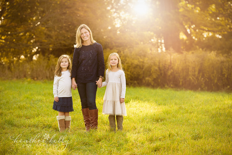 photo of mom and daughters. fall family photography newtown ct