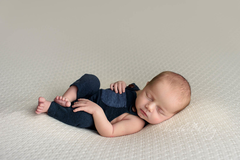 Navy romper cream background newborn photography shelton ct